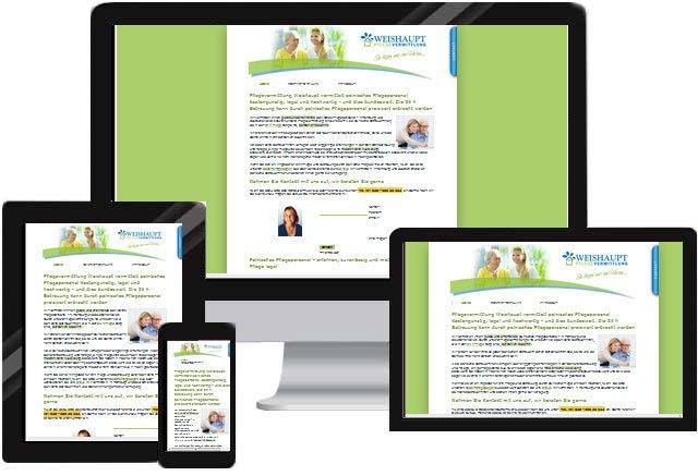 Dienstleistung Pflegevermittlung Homepage